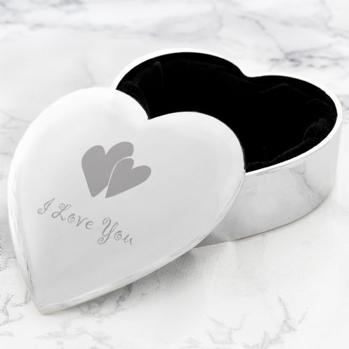 I Love You Silver Heart Shaped Trinket Box Jewellery box gift
